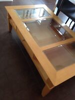 Coffee tables wood and glass