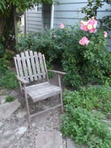 Antique Folding Wooden Arm Chair also Vintage Twig Table