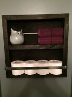 Pallet wood bathroom shelves and dinning table