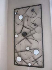 VERY LARGE METAL WALL DECOR WITH MIRRORS