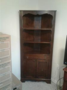 Walnut corner hutch, curio cabinet, wash basin