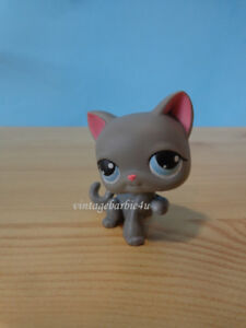 Littlest Pet Shop LPS #74 Grey Kitty Cat blue eyes raised paw