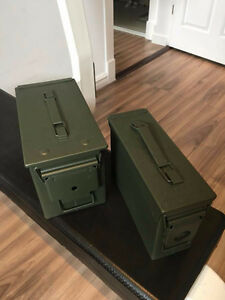 TWO MILITARY AMMO BOXES, BRAND NEW