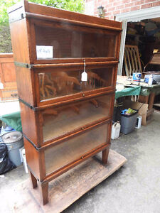 antique barrister bookcase 4 glass levels mission style REDUCED