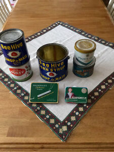Old Tobacco and  Bee Hive tins.