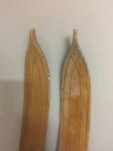Early 1900's Wooden Skis with poles