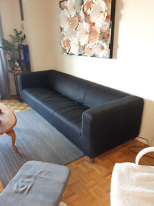 Large 4-Seater IKEA Klippan Sofa Couch - Black Slip Cover - $60