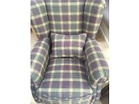 NEW wing back plaid fabric chair & 2 matching footstools