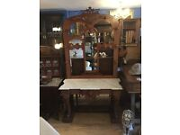 Antique marble top hall stand