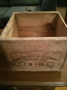 Baker Brothers Glass Company Okmulgee Okla wooden crate