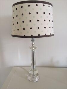 Glass lamp base and Restoration Hardware lampshade