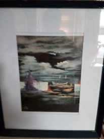 ORIGINAL OIL PAINTING, OF A LONE SAILING BOAT