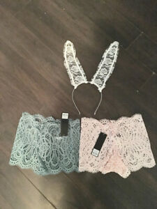 2 pairs of new lace  panties size xs with new lasenza bunny ears