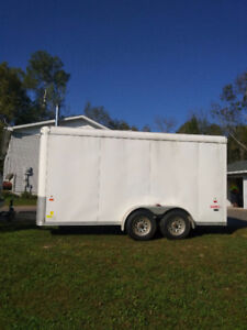 MINT...2015 Haulin enclosed 7x14 tandem axle trailer with mods.
