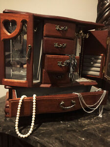 Wooden Jewelry Box - Armoire Style