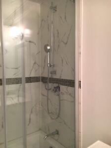 Bathroom Fixtures, toilet, counter, shower, bathtub, bedet