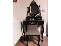Unique French style dressing table set upcycled in chalk graphite and old grey colour