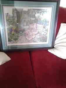 Rug nitted picture plus frame 30$ NEEDS GONE