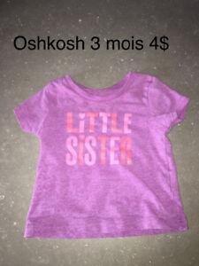 Mignon T shirt oshkosh 3 mois 4$