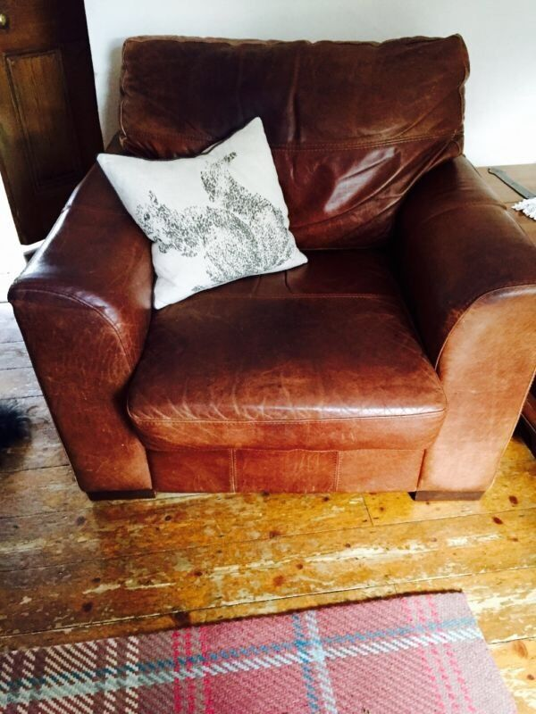 Large leather sofa and arm chairHeavy duty leather sofa fashionable worn lookin Kings Langley, HertfordshireGumtree - Large heavy duty leather sofa and arm chair . Good condition arm chair has slight indentation on arm