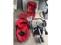Quinny Buzz Travel System in Red Carry Cot Main Seat Cosy Toe Raincover Adaptors
