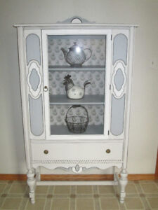 Custom painted antique china cabinet
