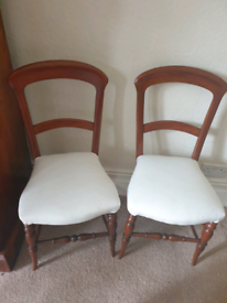 Pair of balloon back dining chairs, recently reupholstered