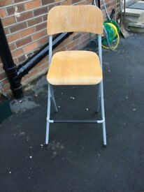 Folding chair, wood with metal frame, excellent conditiom
