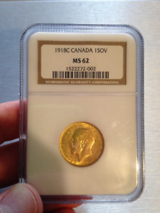 1918 Canadian Sovereign George V NGC MS62 Gold Coin