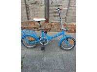 Folding bike, single speed, blue