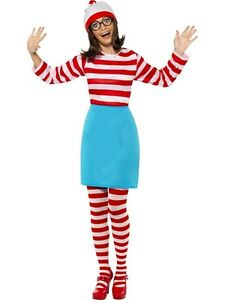 Where's Wheres Wally Wenda Wendy Costume Adult L Top Skirt Hat Glasses Tights