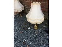 Pair of brass lamps