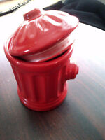 Dog Cookie Jar - Red Fire Hydrant - Christmas Gift for Pet