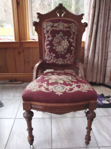 Antique High Back Mahogany Accent Chair Needlepoint Seat