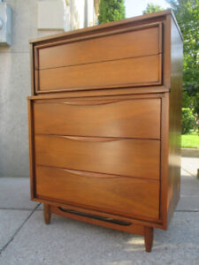Large, MCM Walnut Tall Boy Dresser