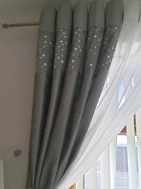 Next Silver gray silk curtains