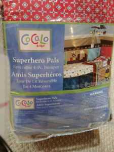 Cocalo baby superhero pals reversible 4 pc bumper with mobile
