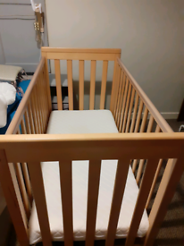 Mamas and Papas Cot Bed with Mothercare Cot Top Changer