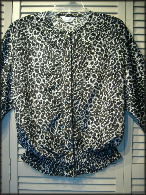 "HDLD Black & Silver Animal Print Velour Blouse (L) 36"" - 40"" bust Gold Buttons"
