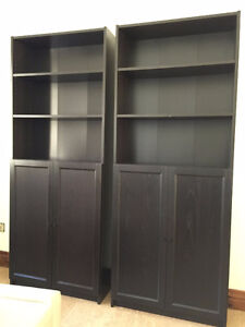 Two IKEA Billy bookcase with OXBERG doors, black-brown