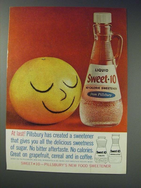 1963 Pillsbury Sweet*10 Sweetener Ad - At Last!