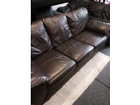 Brown leather sofa + 1 recliner chair £149 includes delivery