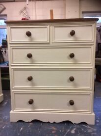 Hand Painted Solid Pine Chest of Drawers