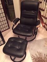 Leather lounge chair with ottoman for family or living room