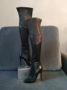 "NEW Jimmy Choo Black Leather Thigh High ""Turner"" Boots Sz 38.0"