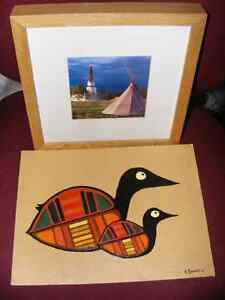 PAINTING OF BIRDS & FRAMED PHOTO OF MISSION CHURCH