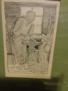 Early to Mid 20th Century pencil drawing of a Blacksmith