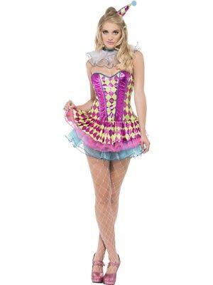 Neon-Harlekin-Clown Damenkostüm Rosa mit Tutukleid Halskrause und Hut - Rosa Clown Kostüme