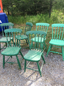 6 antique wooden chairs