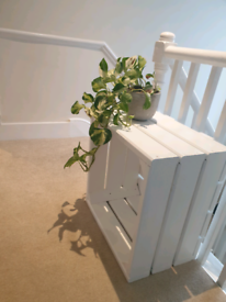 White Wooden bedside table / plant stand